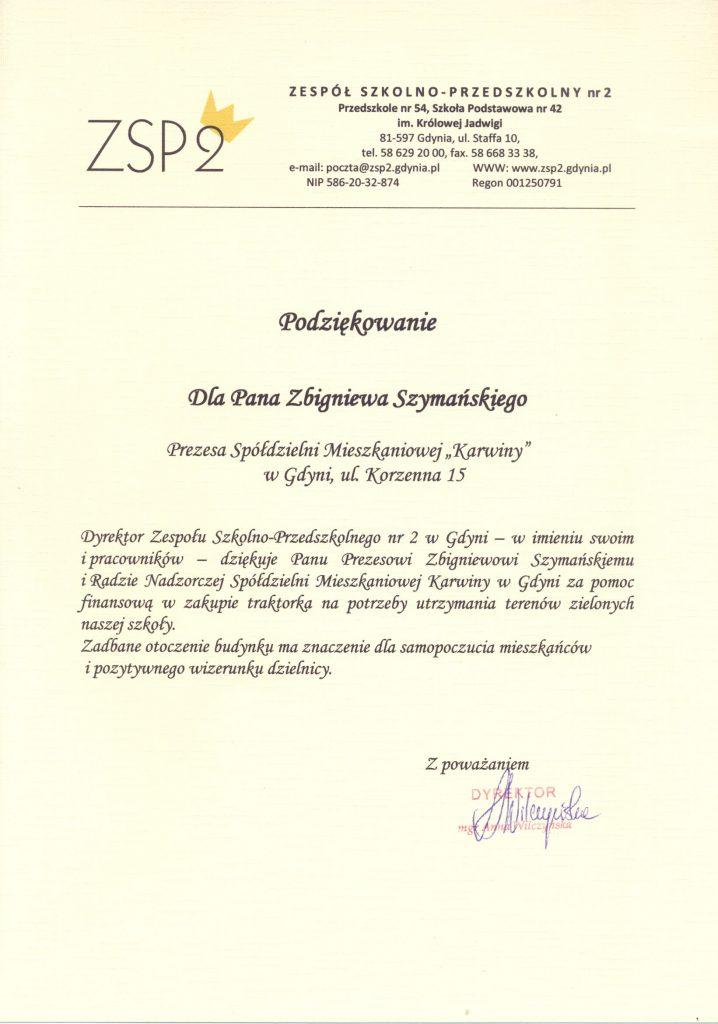 Podziękowania dla Pana Zbigniewa Szymańskiego