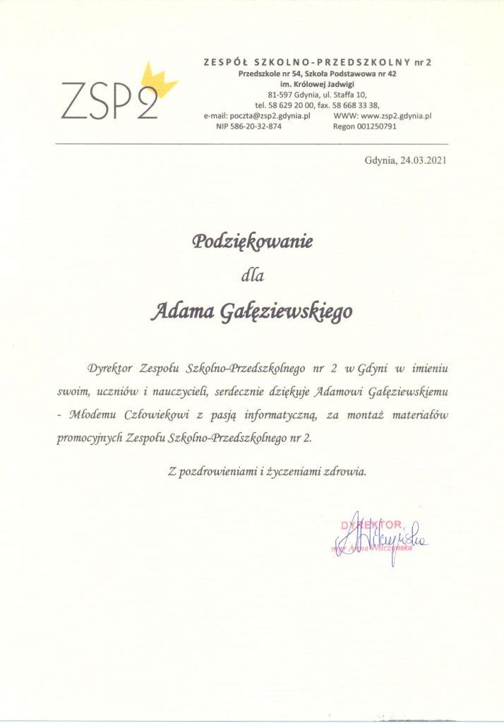 Podziękowania dla pana Adama Głęziewskiego