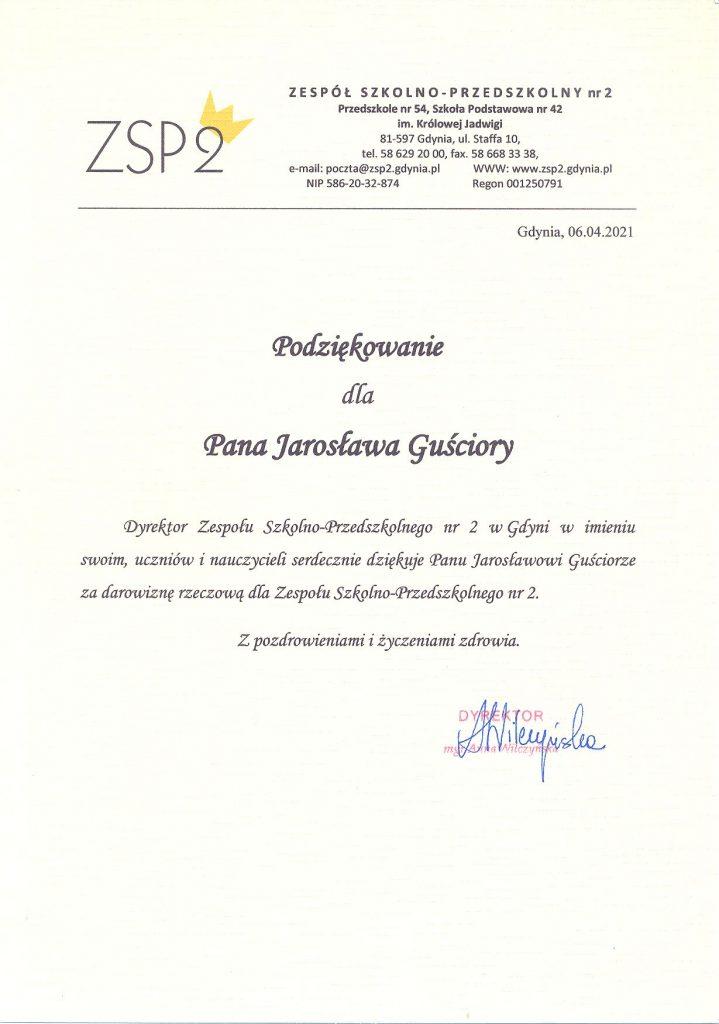 Podziękowania dla pana Jarosława Guściory